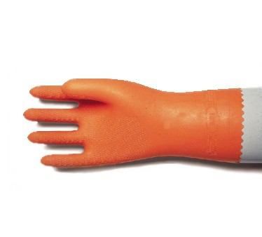 San Jamar 720-XL Extra Large Orange Neoprene Flocked Glove