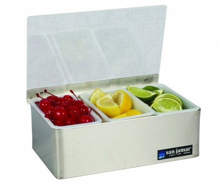 San Jamar B4093L 3-Compartment Stainless Steel Non-Chilled Garnish Tray