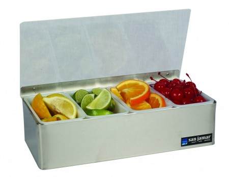 San Jamar B4124L 4-Compartment Stainless Steel Non-Chilled Garnish Tray