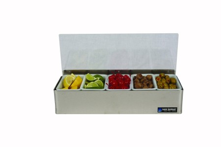 San Jamar B4155L 5-Compartment Stainless Steel Non-Chilled Condiment Bar