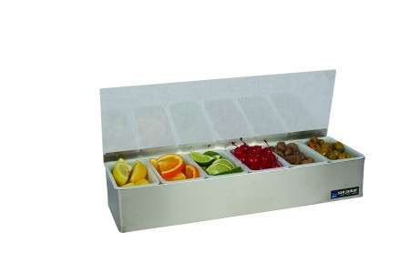 San Jamar B4186L 6-Compartment Stainless Steel Non-Chilled Condiment Bar