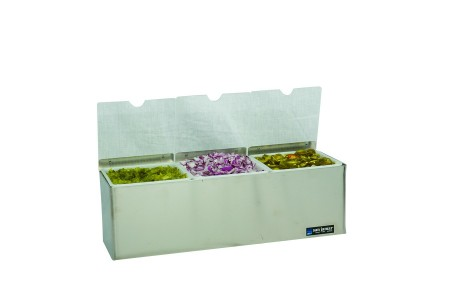 San Jamar B6183INL EZ-Chill Condiment Center with 3 Trays and Individual Notched Lids