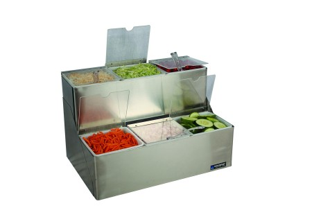 San Jamar B6183INL EZ-Chill Condiment Center with 6 Trays and Individual Notched Lids