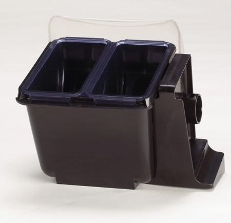 San Jamar BD2004NL Mini Dome 2-Compartment Condiment Bar with Notched Lid