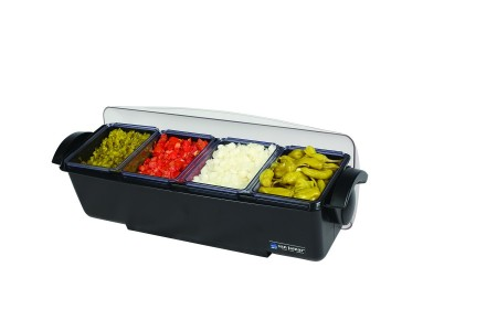 San Jamar BD4004 The Dome 4-Compartment Condiment Bar 6 Qt.