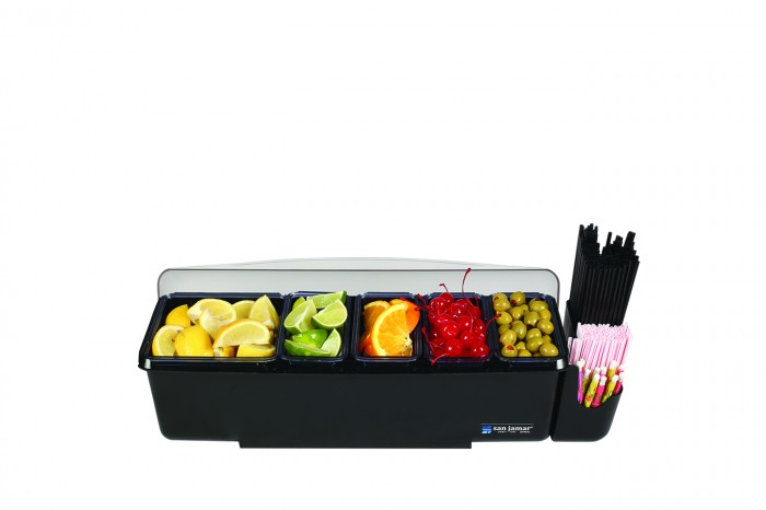 San Jamar BD4005E Dome 5 Tray and 1 Straw Caddy Garnish Center