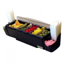 San Jamar BD4005S Dome 5 Tray and 2 Straw Caddy Garnish Centers