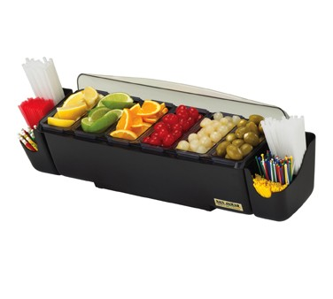 San Jamar BD4006S Dome 6 Tray and 2 Straw Caddy Garnish Center