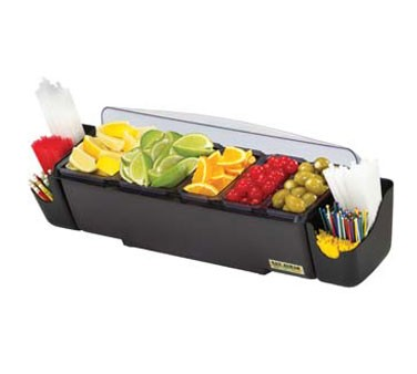 San Jamar BD4023S Dome 5 Tray and 2 Straw Caddy With Handles Garnish Center
