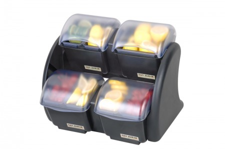 San Jamar BDS2483NL Dome Stacker Mini Dome 8-Compartment Two Tier Condiment Bar with Notched Lids