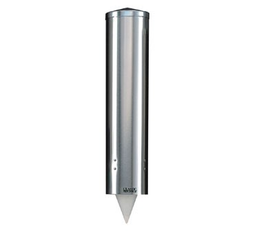 San Jamar C3450SS Stainless Steel 12-24 Oz. Flat Or 8-12 Cone Water Cup Dispenser