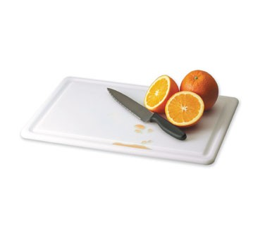 "San Jamar CB152012GVWH White Grooved Cutting Board 15"" x 20"""