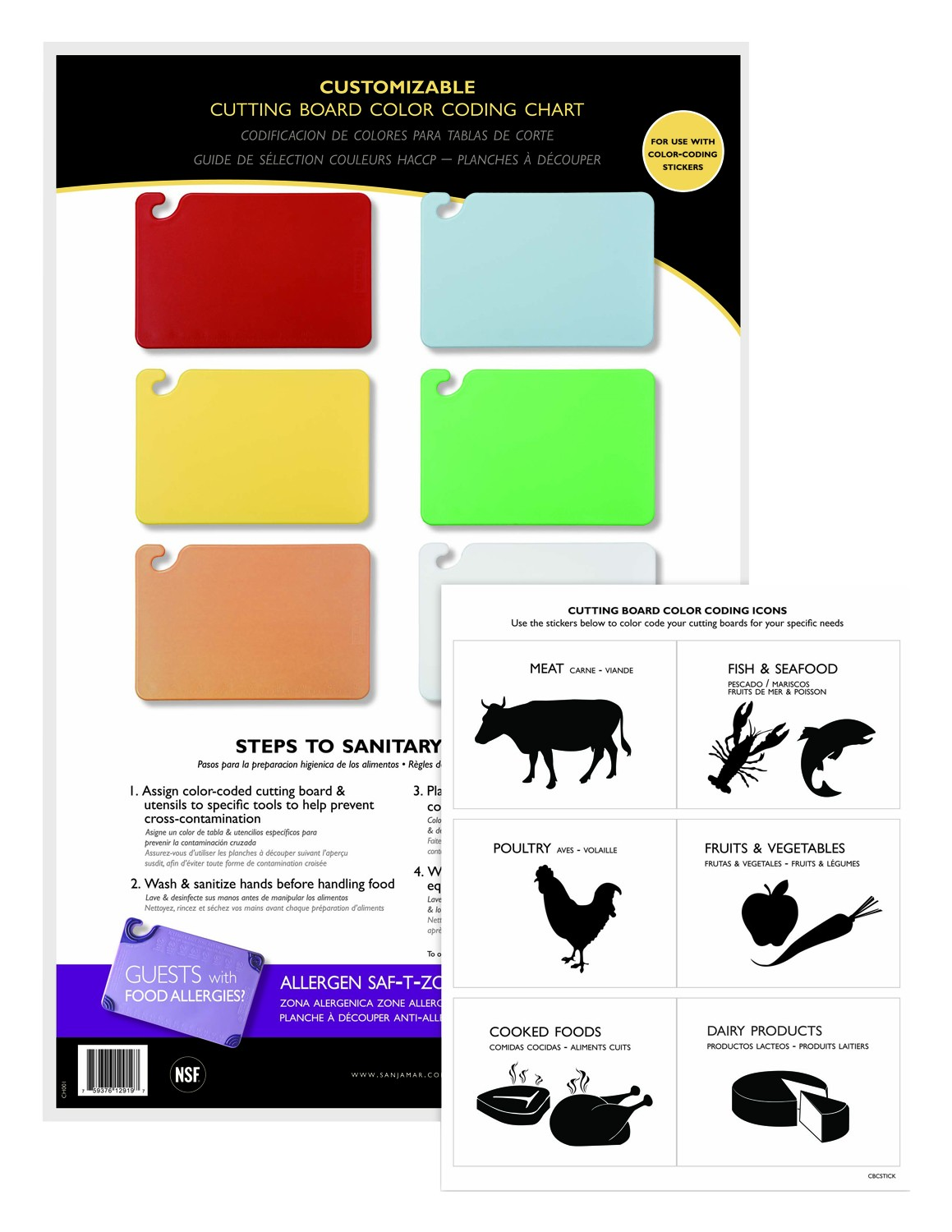 "San Jamar CBCWLCTST Color-Coded Cutting Board Smart Chart - 6 Board 11"" x 17"""