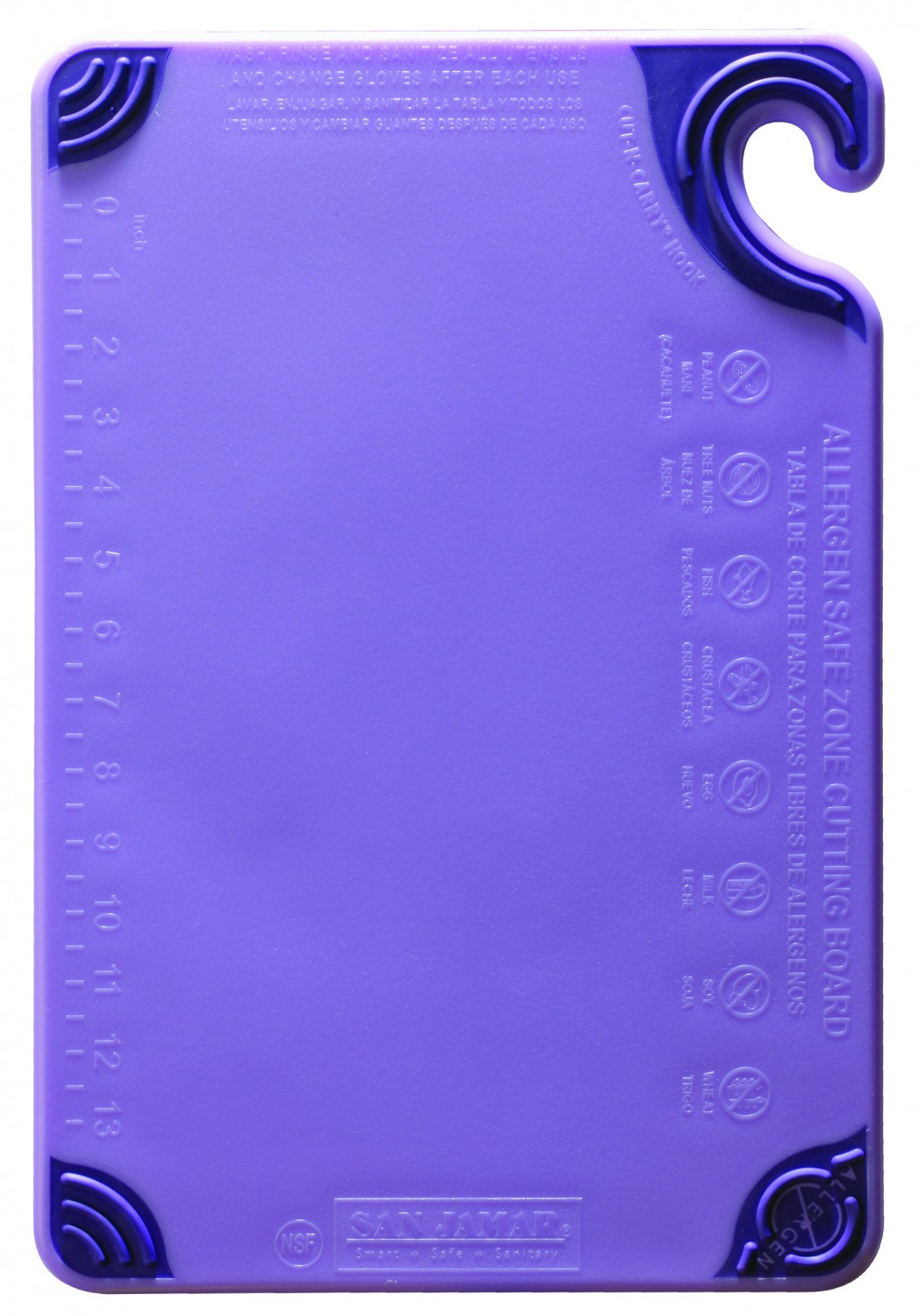 "San Jamar CBG121812PR Saf-T-Grip Allergen Purple Cutting Board 12"" x 18"""