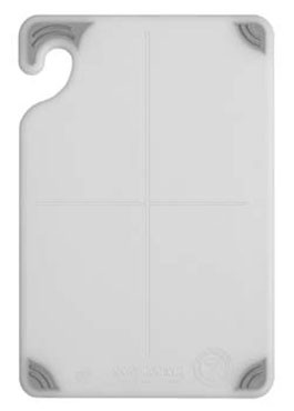 "San Jamar CBG121812WH Saf-T-Grip White Cutting Board 12"" x 18"""