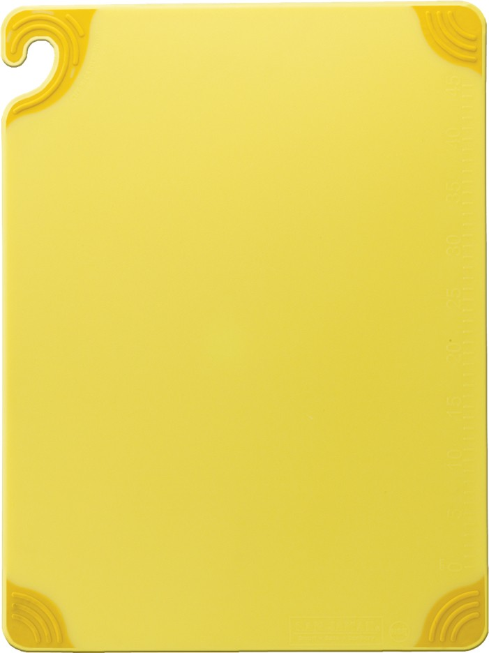 "San Jamar CBG121812YL Saf-T-Grip Yellow Cutting Board 12"" x 18"""