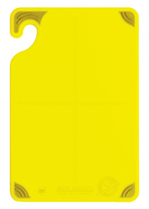 "San Jamar CBG6938YL Saf-T-Grip Non-Slip Grip Yellow Cutting Board 6"" x 9"""