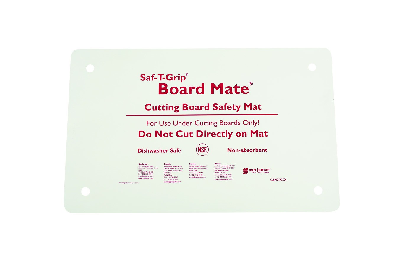 "San Jamar CBM1016 Saf-T-Grip Board Mate Cutting Board Mat 10"" x 16"""