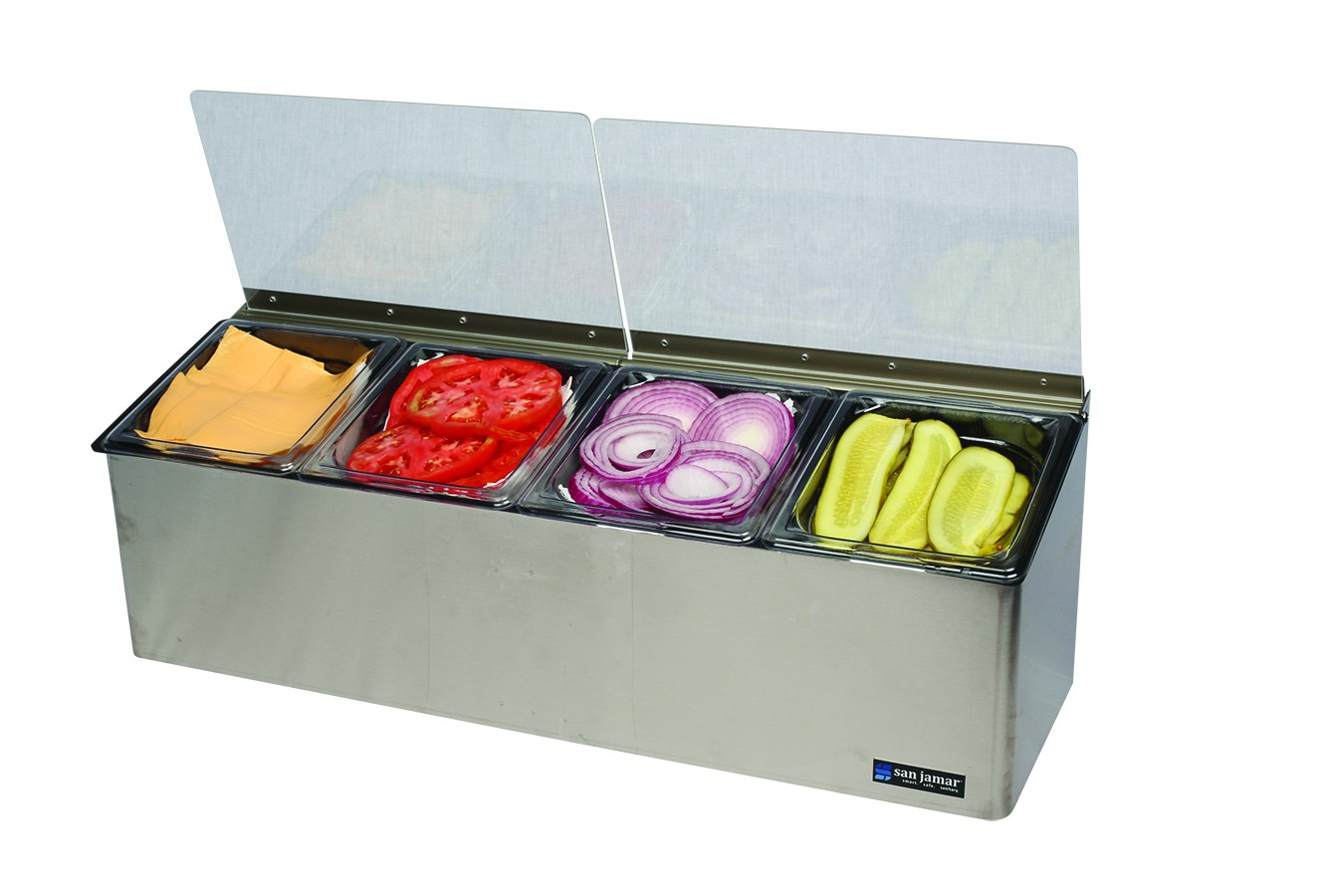 San Jamar FP8244FL EZ-Chill Four 1/6 Pan Condiment Center