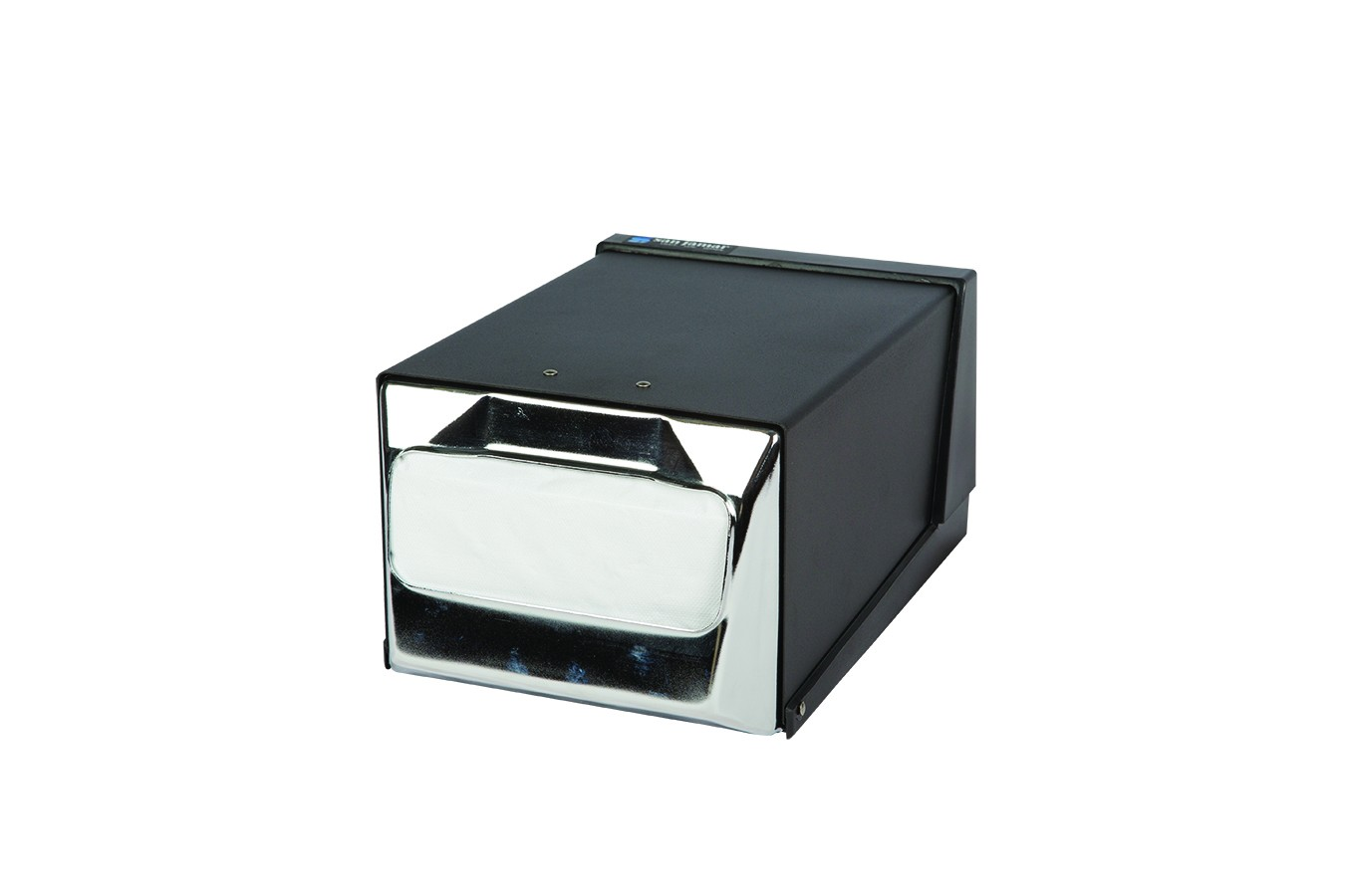 San Jamar H3001BKC Chrome And Black Countertop 300 Fullfold Napkin Dispenser