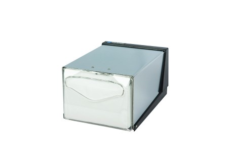 San Jamar H3005CLXC Clear and Chrome Fullfold Countertop Napkin Dispenser with Control Face