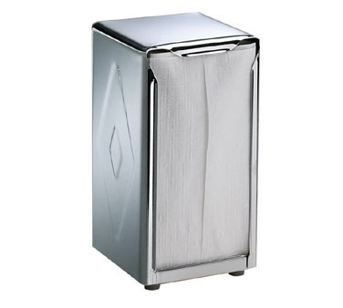 San Jamar H900X Tall Fold Two-Sided Tabletop Napkin Dispenser, Chrome