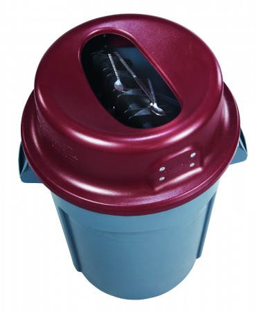 San Jamar KA4400 Burgundy KatchAll Flatware Retriever 44 Gallon Trash Can Lid