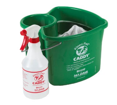 San Jamar KP500 Green Kleen-Pail Caddy And Spray Bottle