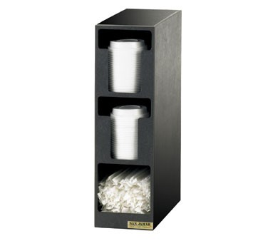 San Jamar L2202 Three Compartment Lid Dispenser and Straw Organizer