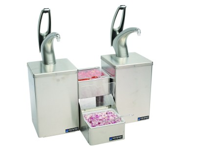 San Jamar P4826 FrontLine Countertop Dual Condiment System with Stepped Tray and Metal Finish