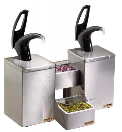 San Jamar P4826BK FrontLine Countertop Black Dual Condiment System with Stepped Tray