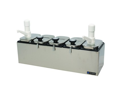 San Jamar P9723 Stainless Steel Topping Dispenser Bar with Ultra Pumps