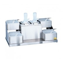 San Jamar P9724 Self Service 4 Tray And 2 Pump Condiment Center