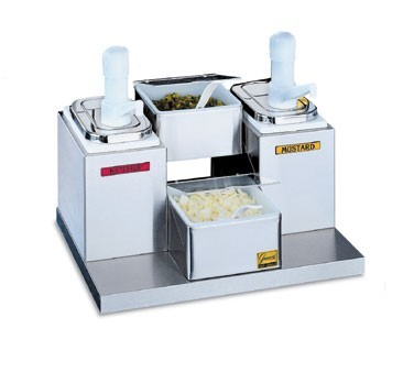 San Jamar P9725 Self Service 2 Tray And 2 Pump Condiment Center