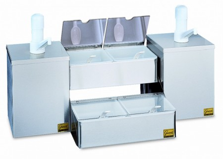San Jamar P9825 Pump and Condiment Tray Center with 2 Pump Boxes and 4 Trays