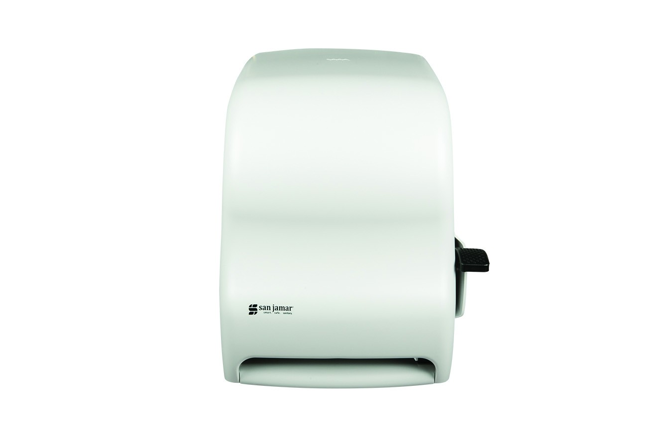 San Jamar T1100WH Classic White Sand Lever Touch Roll Towel Dispenser