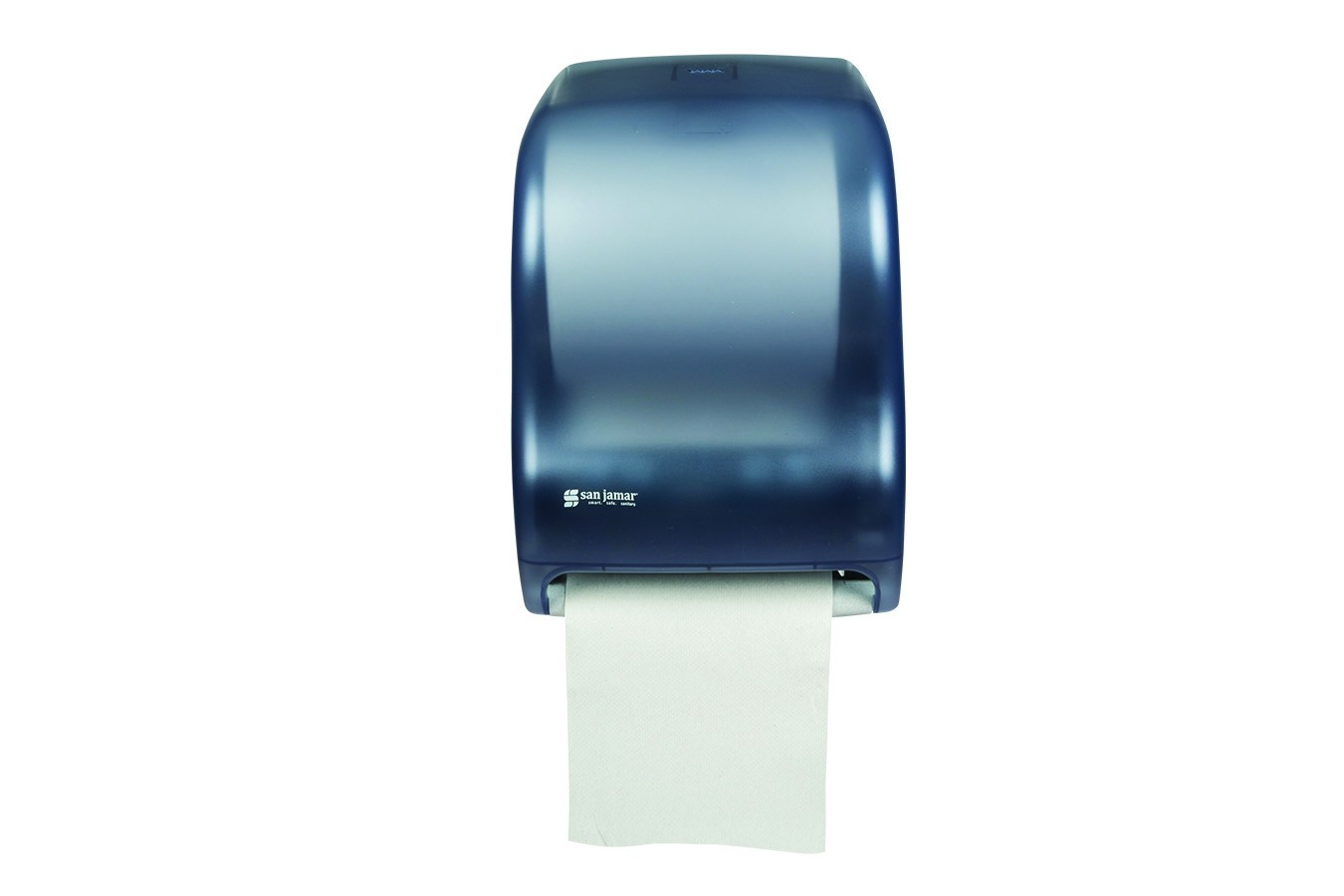 San Jamar T1300TBL Classic Arctic Blue Tear-N-Dry Electronic No Touch Roll Towel Dispenser