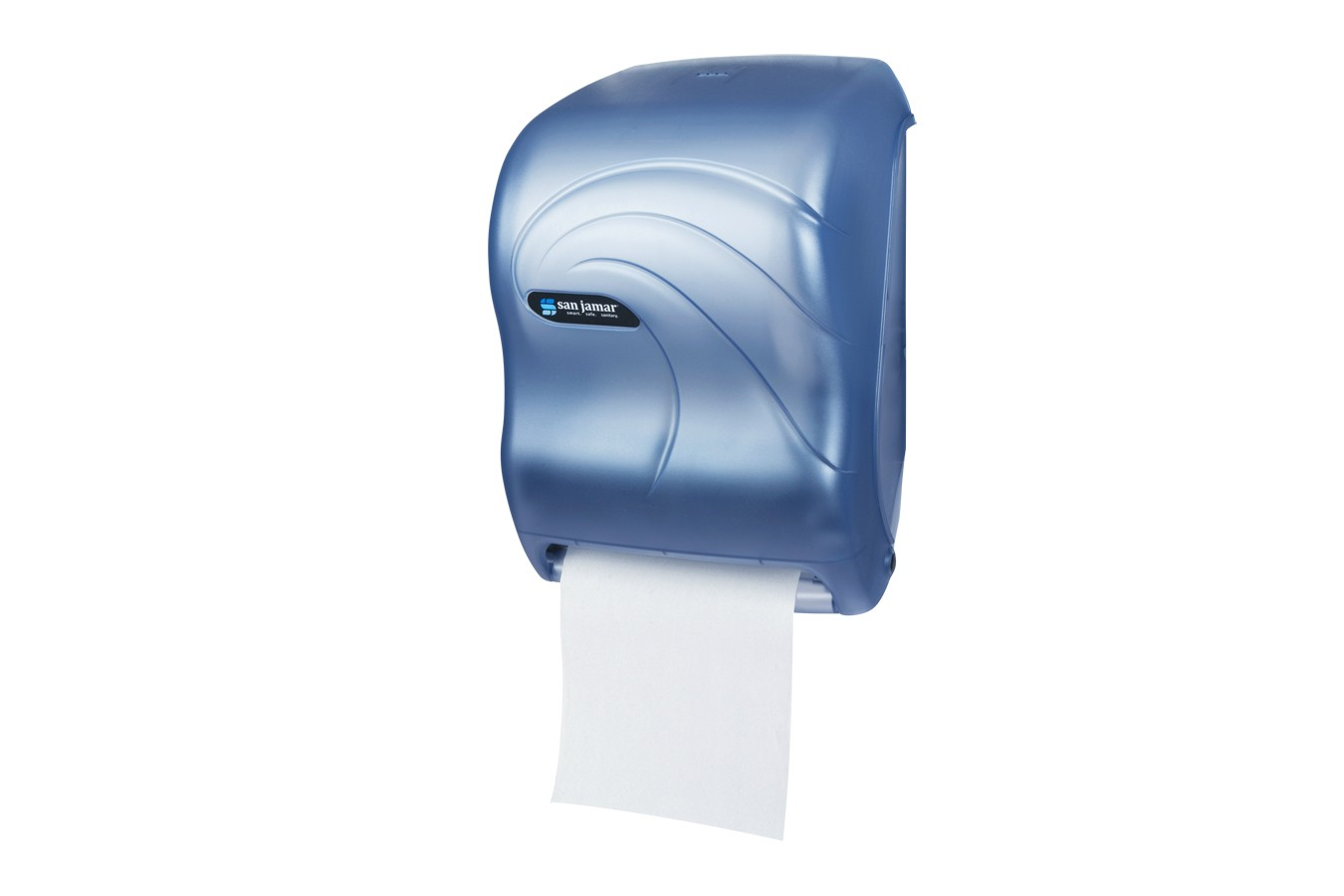 San Jamar T1390TBL Oceans Arctic Blue Tear-N-Dry Electronic No Touch Roll Towel Dispenser