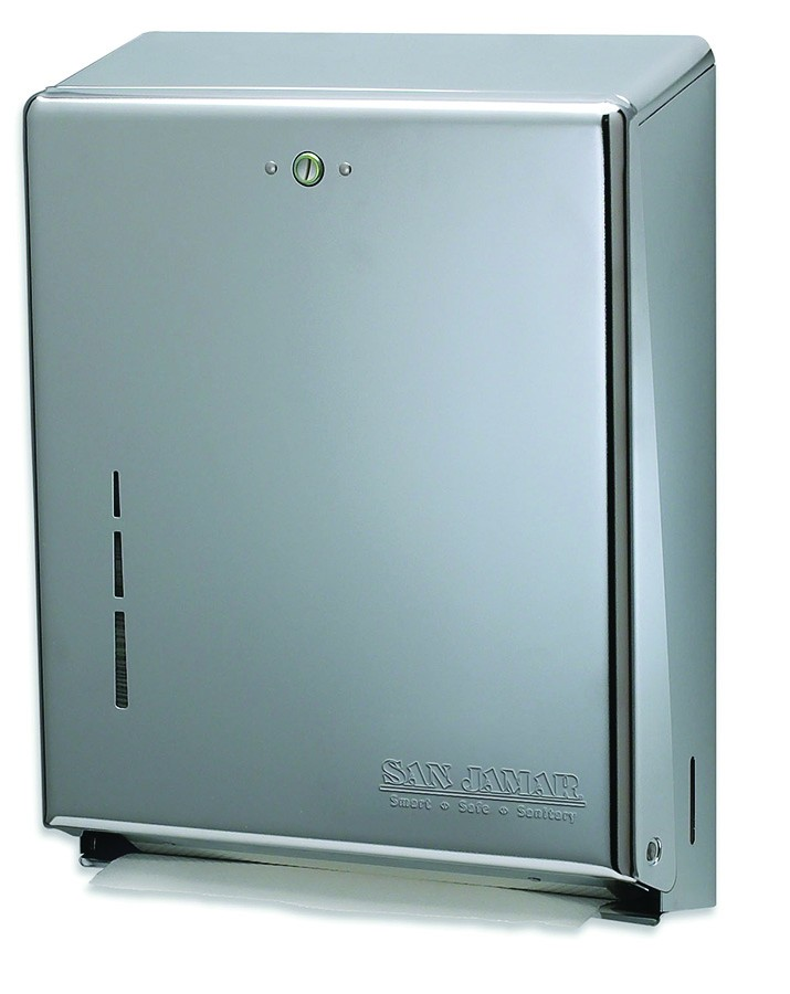 San Jamar T1900SS Stainless Steel C-Fold/Multifold Folded Towel Dispenser