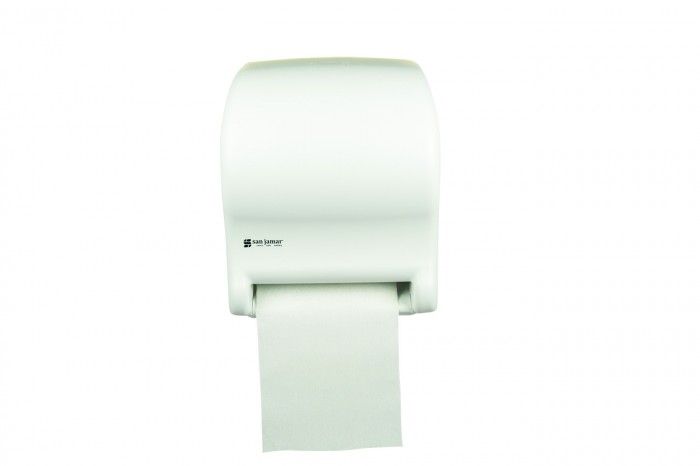 San Jamar T8000WH White Tear-N-Dry Essence No Touch Roll Towel Dispenser