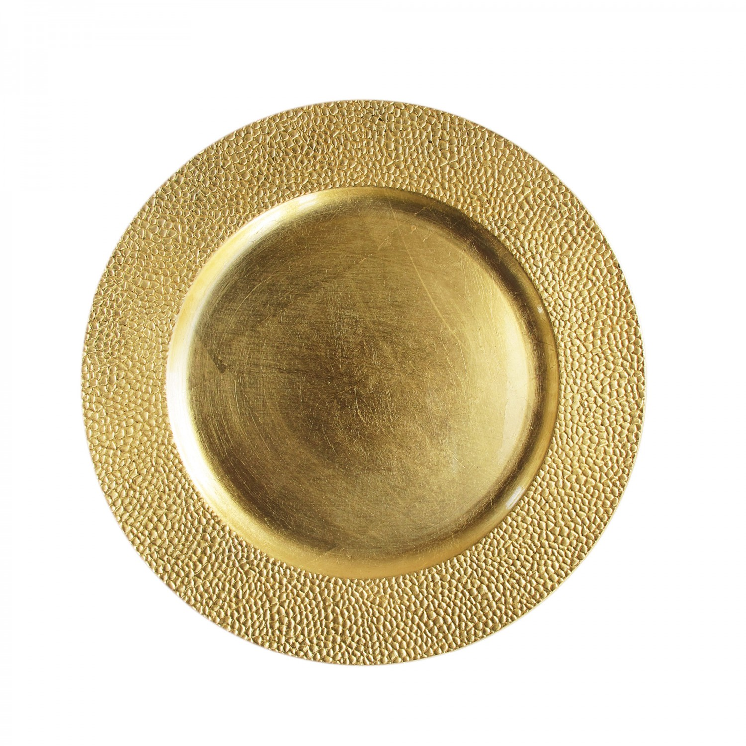The Jay Companies 1182760 Round Gold Pebbled Charger Plate 13""