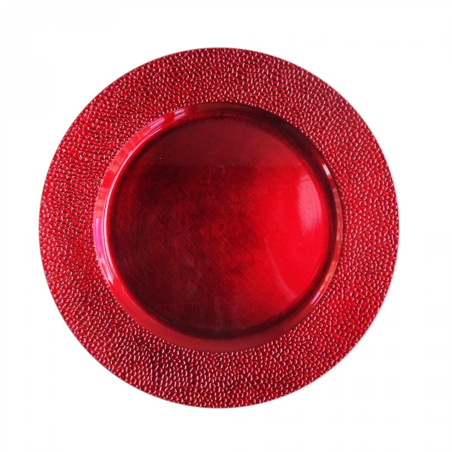 The Jay Companies 1182762 Round Red Pebbled Charger Plate 13""