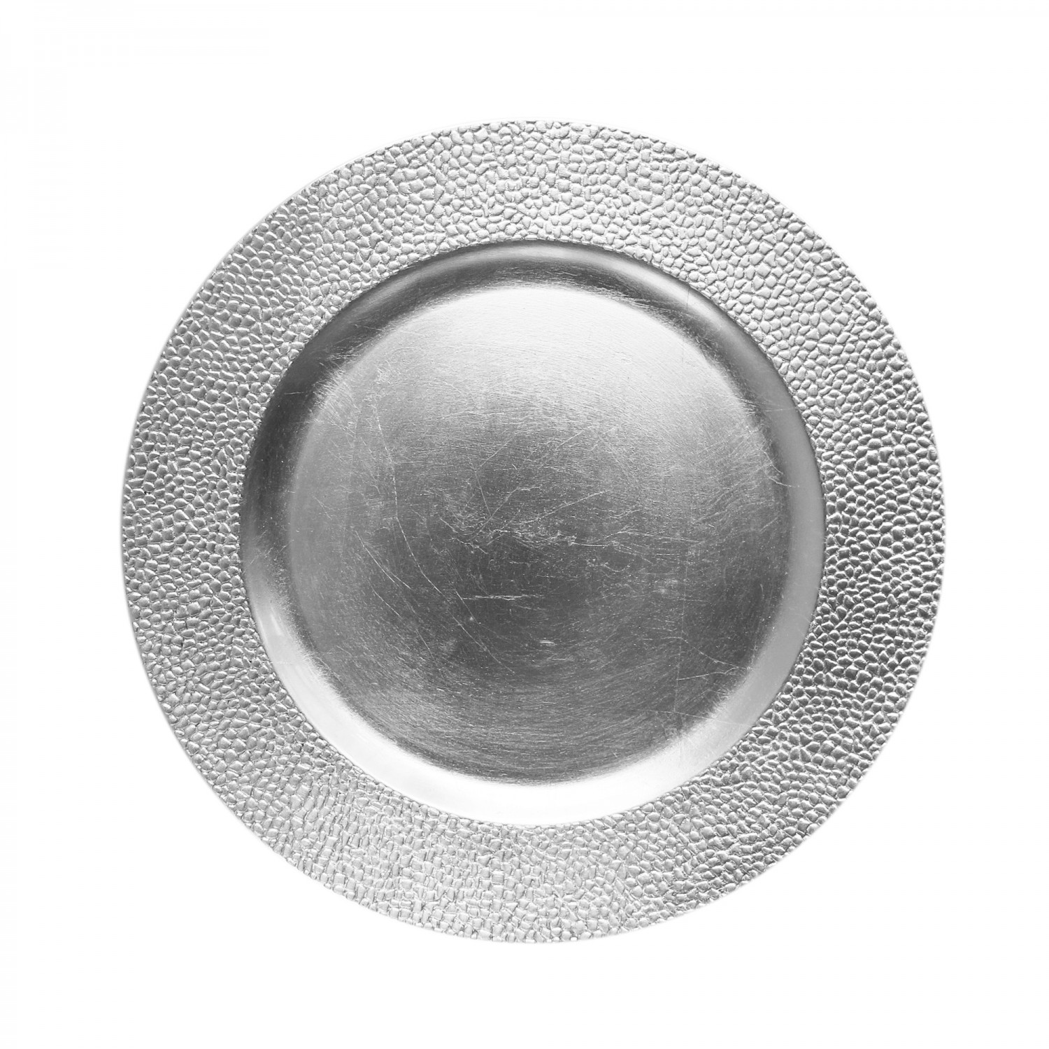 The Jay Companies 1182761 Round Silver Pebbled Charger Plate 13""