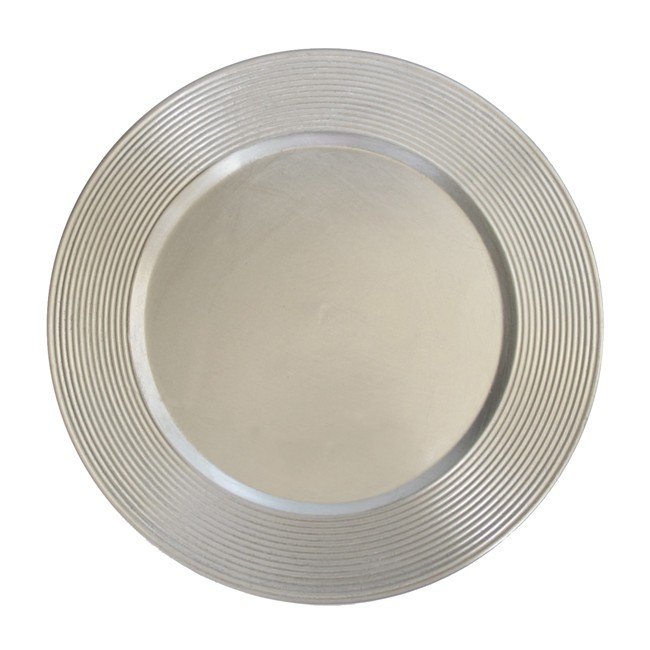 The Jay Companies 1183067 Round Silver Saturn Charger Plate 13""