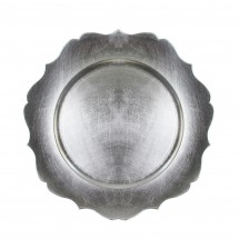 The Jay Companies 1182767 Round Silver Scalloped Edge Charger Plate 13""