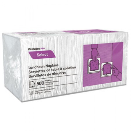 Select Luncheon Napkins, 1 Ply, 11 1/4 x 12 1/2, White, 500/Pack, 6000/Carton