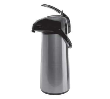 Service Ideas AELS228 SteelVac Glass Lined Airpot, Brushed with Black Accents, 2.2 Liter