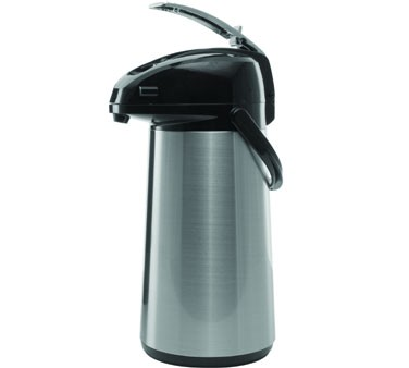 Service Ideas AELS308 SteelVac Glass Lined Airpot, Brushed with Black Accents, 3 Liter