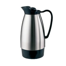 Service Ideas CGCS10SS Classic Brushed Stainless Carafe with Black 1 Liter