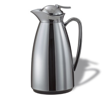 Service Ideas CJZ1CH Classy Vacuum Carafe with Glass Liner, Polished Stainless 1 Liter
